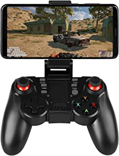 Linkstyle Wireless Game Controller Bluetooth Mobile Gamepad Joystick Game Handle with Retractable Phone Holder Clip Compat...