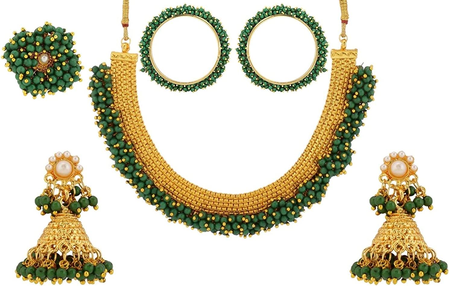 Efulgenz Indian Bollywood 14 K Gold Plated Faux Pearl Bead Bridal Choker Necklace Earrings Bracelet Bangles Ring Jewelry Set