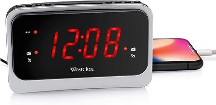 ساعة Westclox 80231NS حمراء 1.4 بوصة بأصوات طبيعية و1 أمبير USB