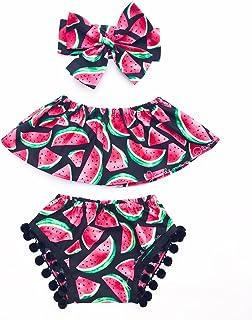 Combclub Baby Girls Summer Watermelon Off Shoulder Tube Tops+Tassel Shorts+Headband Outfits Set