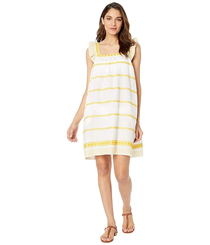 Tory Burch Swimwear Embroidered Ruggle Sleeveless Dress Cover-Up (New Ivory/Goldfinch) Women