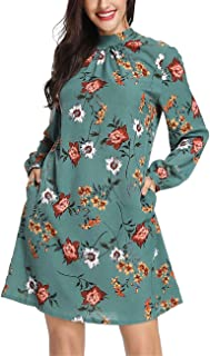 Azalosie Women Floral Dress High Neck Long Sleeve Pockets Tunic Short Shift Belted Dress Casual Work Beach Party