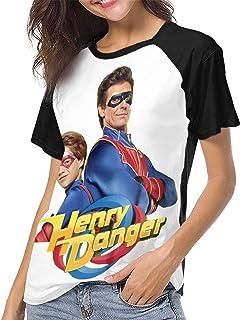 Yesbnow Henry Danger Womans Camiseta de béisbol de Manga Corta Classic Casual Colorblock Túnica de Cuello Redondo Tops