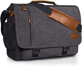 Estarer Laptoptasche aus Segeltuch, Leder, für die Schule, Kuriertasche, 39,6 cm 15,6 Zoll Hellgrau Grau - MBM02