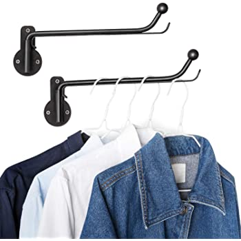 Mkono Wall Mounted Clothes Hanger with Swing Arm Holder Valet Hook Metal Hanging Drying Rack Space Saver for Closet Organizer, Bathroom, Bedroom, Laundry Room 2 Pack, Black