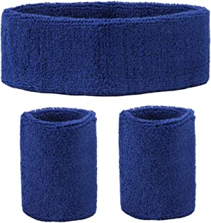 DEMIL Sweatbands Sports Headband/Wristband for Men & Women - 3PCS Moisture Wicking Athletic Cotton Sports Headbands Terry Cloth Sweatband for Basketball Running Gym Working Out