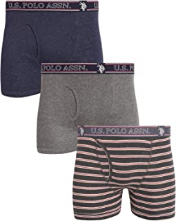 U.S. Polo Assn. Men's Cotton Boxer Briefs Underwear with Functional Fly (3 Pack) (Blue/Slate Rose Stripe/Grey, Medium)'