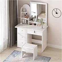 Large Classical Makeup Dressing Table, Furniture Wooden Vanity, Make Up Table and Stool Set Nordic Dressing Table Retro Dr...