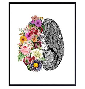 Contemporary Vintage Medical Brain Wall Art Decor Poster - Modern Apartment, Home or Room Decoration for Bedroom, Bathroom, Doctors Office, Clinic - Gift for Nurse, PA, Dr, Neurologist - 8x10 Picture