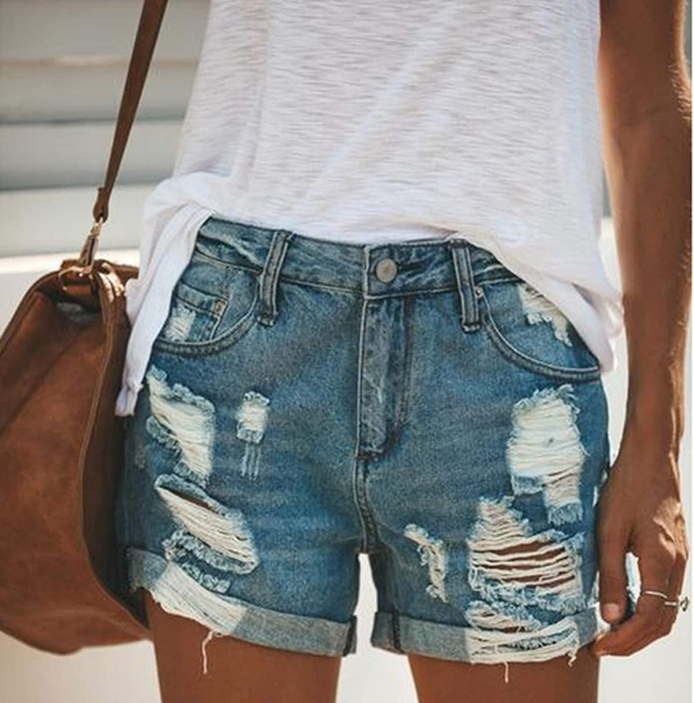 WYBAXZ Mid Rise Denim Shorts for Women, Summer Hole Frayed Distressed Cuffed Hem Jeans Sexy Hot Shorts Stretchy Pants