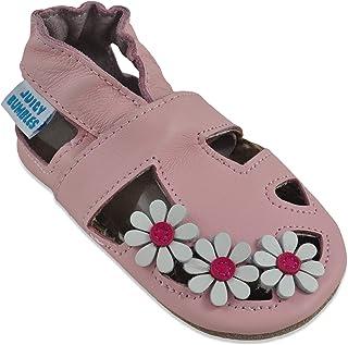 Sandales Bébé Cuir Souple - Chaussons Cuir Bébé - Chaussures Bebe Fille - Chaussures Enfant Garçon - Spartiates Bébé 0-6 M...