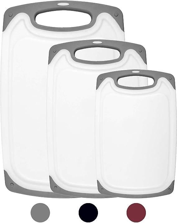 HOMWE Kitchen Cutting Board (3-Piece Set)   Juice Grooves w/Easy-Grip Handles   BPA-Free