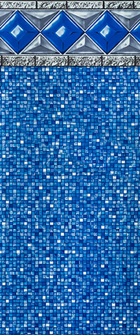Smartline Crystal Tile 15-Foot-by-30-Foot Oval Liner | UniBead Style | 48-Inch Wall Height | 25 Gauge Virgin Vinyl | Designed for Steel Sided Above-Ground Swimming Pools