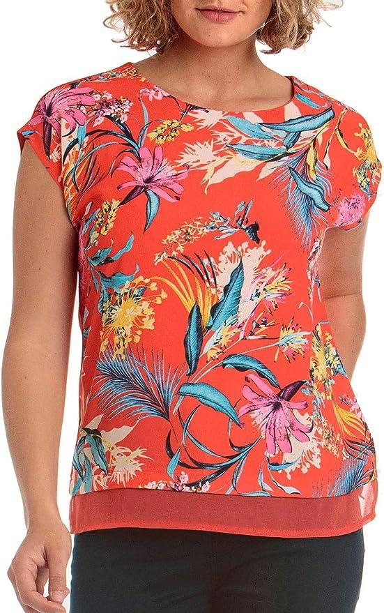 Punto Roma Camiseta Mujer Estampada Rojo Coral Talla Pequeña ...