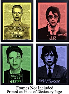 Rock n Roll Wall Art Prints on Dictionary Photo - Vintage Set of Four (8x10) Ready to Frame Photos - Great Gift For David Bowie, Elvis Presley, Frank Sinatra & Mick Jagger fans - Super Cool Home Decor