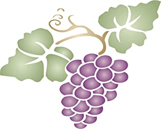 """Grape Stencil - (size 8""""w x 6.5""""h) Reusable Wall Stencils for Painting - Best Quality Fruit Kitchen Stencil Ideas - Use on Walls, Floors, Fabrics, Glass, Wood, Terracotta, and More…"""