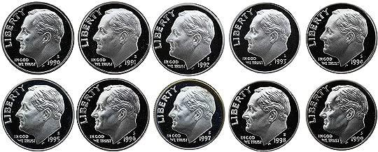 1990 S 1991 S 1992 S 1993 S 1994 S 1995 S 1996 S 1997 S 1998 S 1999 S Gem Roosevelt Dimes Run 10 Coin Set .10 US Mint Proof