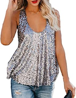 Coolred Womens Spaghetti Straps Round Neck Racerback Sequin Sexy Top Vest