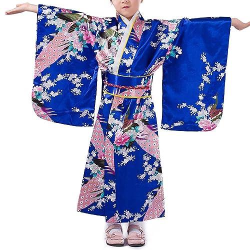 2a25758bdb Girls Kimono Costume Japanese Asian Top Dress Robe Sash Belt Fan Set Outfit