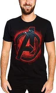 Ultron Edad de La Camiseta del Logotipo del Rojo del Fuego Impresión del Logotipo de La Camisa Licencia de Marvel Superhéroes Negro