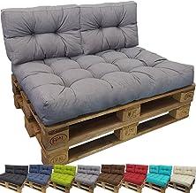 PROHEIM Cojines palets Tino Lounge Ideales para Exteriores - 1 cojín de Asiento 120 x 80 x 18 cm + 2 Cojines de Respaldo 60 x 40 x 10-20 cm, Color:Gris