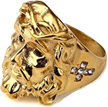 LILILEO Jewelry Rock Stainless Steel 18K Gold Plating Punk High Polished Finish Jesus Hip Hop Rings For Men's Rings Jewelry