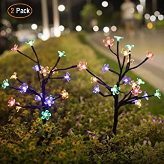 Solar Garden Lights Outdoor - Jack & Rose 2 Pack Solar Powered LED Flower Decorative Lights , Waterproof Colored Solar Fairy Landscape Tree Lights for Yard, Patio, Garden, Flowerbed, Party, Christmas.
