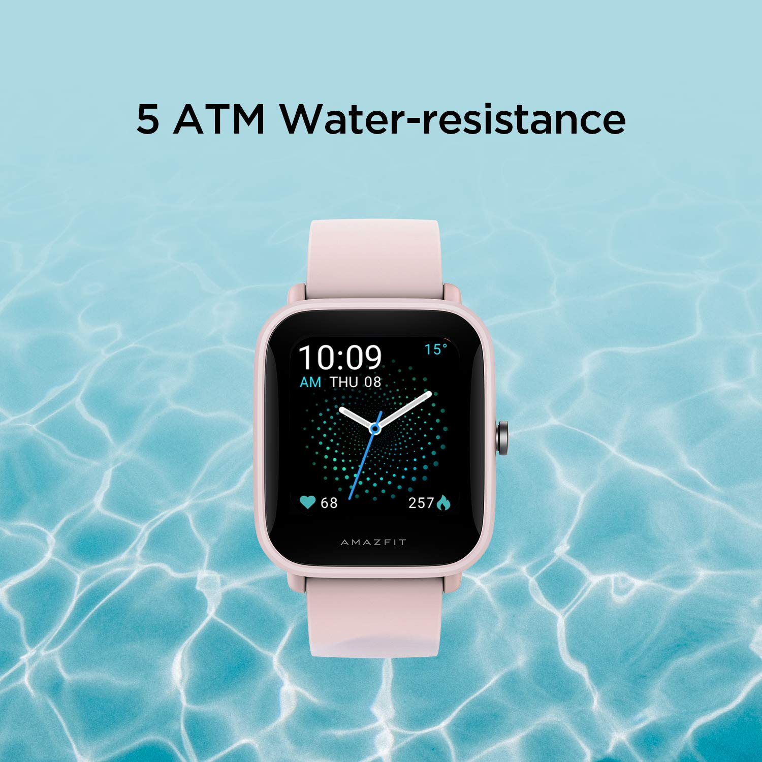Amazfit Bip U Smart Watch Fitness Tracker for Men Women with 60+ Sports Modes, 9-Day Battery Life, Blood Oxygen Breathing Heart Rate Sleep Monitor, 5 ATM Waterproof, for iPhone Android Phone (Pink)
