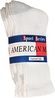 American Made Cotton Blend Athletic Crew Socks White or White with Grey Heel and Toe (3 Pair Per Band)