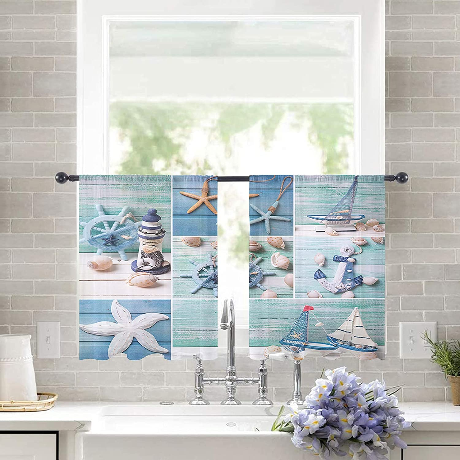 Semi Sheer Curtains for Living Room Wood Starfish Super Special Free Shipping Cheap Bargain Gift SALE held Gr Decor Blue