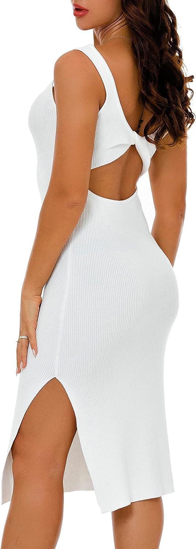 TENHIGH Women's Sexy Backless Tank Dress Bodycon Sleeveless Knit Midi Club Dresses