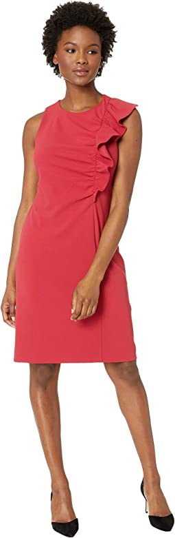 Sleeveless Asymmetrical Ruffle Ponte Dress