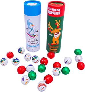 Reindeer Poop and Chocolate Snowballs Set - Best Candy Christmas Gift Stocking Stuffer Idea Reindeer Poop Gag Gift for Xmas Holiday Funny Unique Surprise for Kids Adults Boys Girls Men Women
