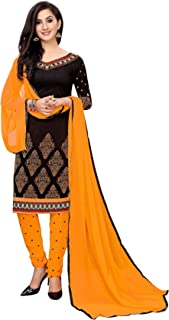 TreegoArt Fashion Women's Festival Wear Indian Crepe Unstitched Dress Material -(Free Size) Black