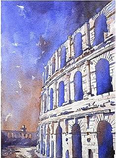 Watercolor painting of ruins of Roman coliseum in El-Djem, Tunisia (print)