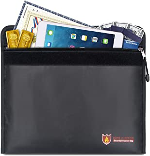 OPOLEMIN Fireproof Document Bags with Silicone-Coated Fiberglass Heat Resistant Waterproof Fireproof Safe Bags Money