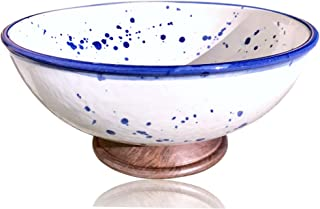 White Porcelain Bowl - Splatter Pottery & Wooden Finish   Large Handmade Kitchen Bowl for Salad, Serving, Punch, and Soup by Kauri