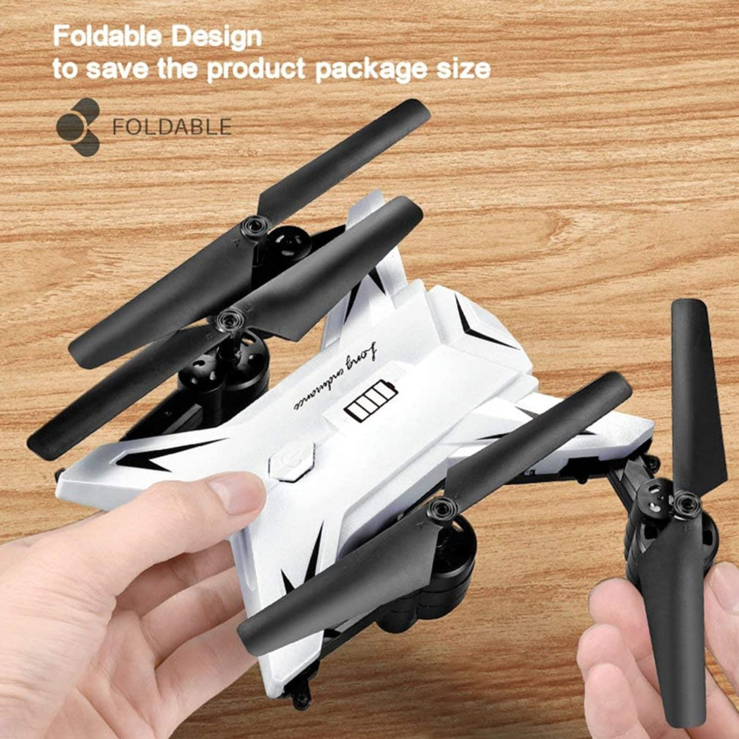 Generic KY601S Full RC Drone with 1080P HD Camera 4 Channel Long Lasting Foldable Arm Remote Control quadrocopter timely Transmission White 0.3MP