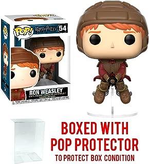 Funko Pop Movies: Harry Potter - Ron Weasley on Broom Vinyl Figure (Bundled with Pop Box Protector Case)