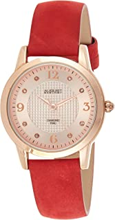 August Steiner Women's As8198Rd Rose Gold Quartz Watch With Rose Gold Dial and Red Suede Leather Strap, Analog Display