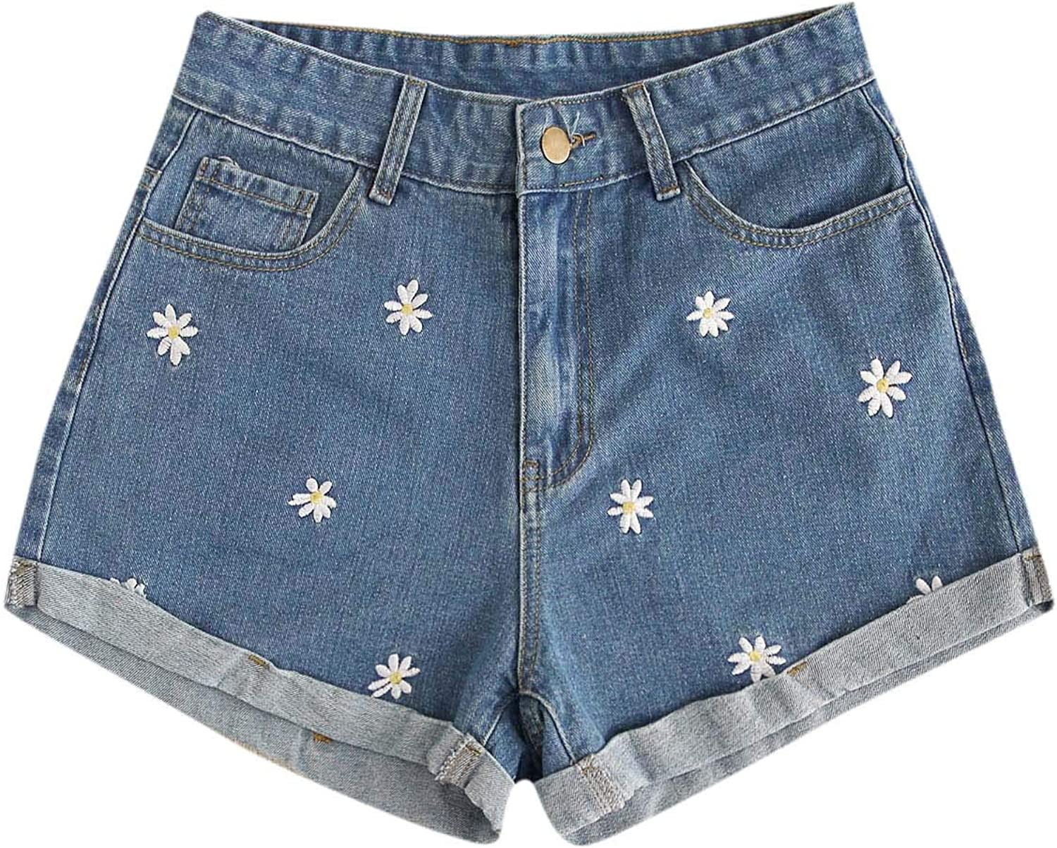 Floerns Women's Floral Embroideried Hemming Denim Shorts with Pockets