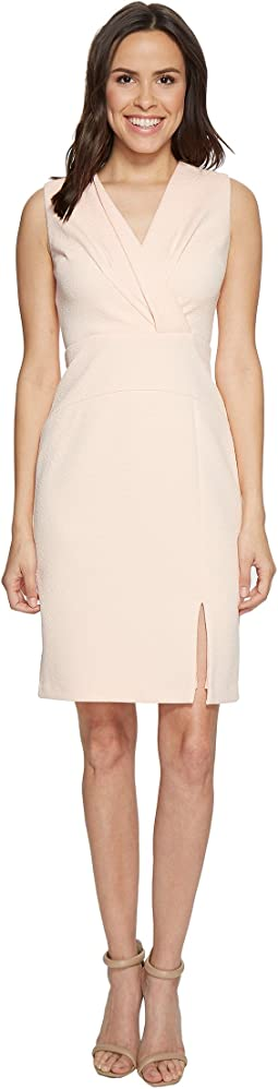 Sleeveless Center Front Fold Detail Fitted Dress