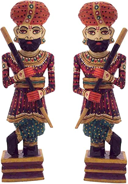 Etsibitsi Handmade Royal Gaurd Darbaan Gatekeeper Statue Rajasthani Look Wooden Hand Painted Sculpture For Home Decoration Showpiece Gifting Item 12 X 2 X 3 15 Inches Sets Of 2