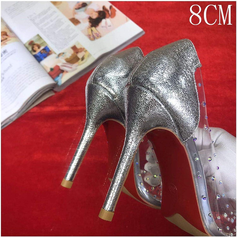 HANBINGPO High Heels Wedding Clear colorful Crystal Pumps shoes Woman Stiletto Transparent 8CM 10CM Dress Party