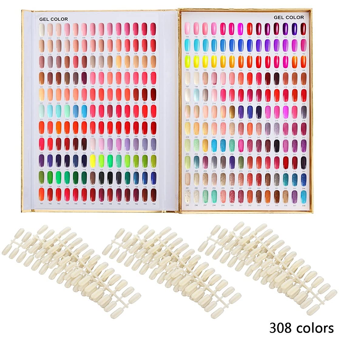 エキゾチック最大化するアコードカラーチャート ブック ネイルマニキュアカラー色見本 120色/216色/308色 サンプル帳/色見本帳 ゴールデン (308)