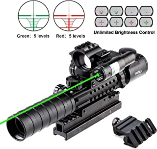 Pinty Rifle Scope 3-9x32 Rangefinder Illuminated Optics Red Green Reflex 4 Reticle Sight Green Dot Laser Sight with 14 Slo...