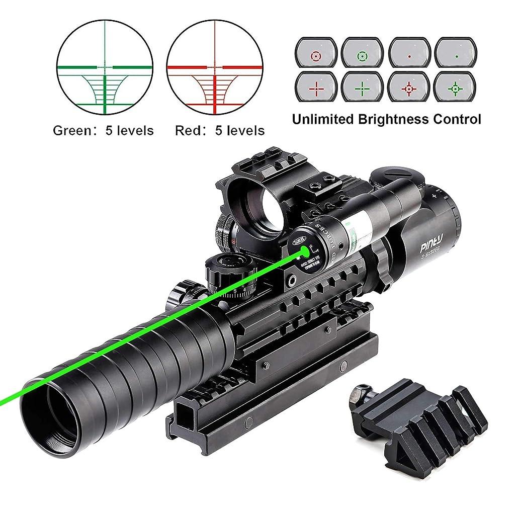 Pinty Rifle Scope 3-9x32EG Rangefinder Illuminated Optics Red&Green Reflex 4 Reticle Sight Green Dot Laser Sight with 22 & 11mm Weaver/Picatinny Rail Mount,45 Degree Mount