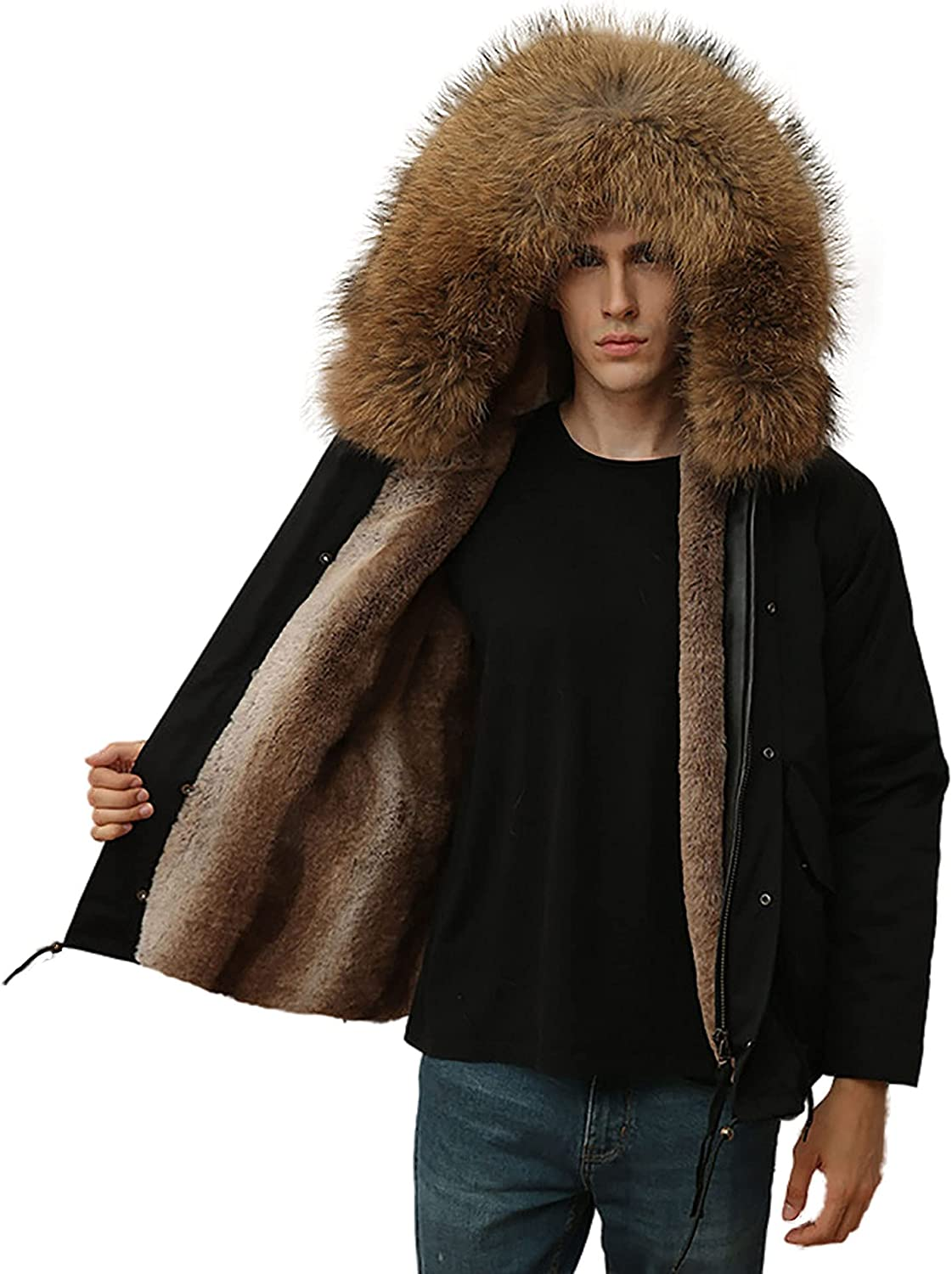Mens Winter Parka Warm Thick Faux Fur Slim Trench Coat Hooded with Real Fur Trim