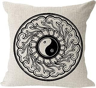 Retro Chinese taiji ba-gua pattern Cotton Linen Square Throw Waist Pillow Case Decorative Cushion Cover Pillowcase Sofa 18