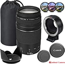 Canon EF 75-300mm f/4-5.6 III Auto Focus Telephoto Zoom Lens with Fotodiox EF-EOS M Mount Adapter for Canon EOS-M5, M6, M50, M100, M10 Mirrorless Digital Cameras